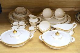 A Royal Doulton 'Belmont' pattern part dinner and coffee dinner service with gilt decoration