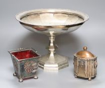 A large silver plated comport, after Christopher Dresser, diameter 33cm, a plated sugar basket