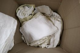 A quantity of assorted table linen, a lace cover, damask tablecloths, lace trimming, etc.