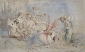 William Frost (1810-1879), ink and watercolour, The Toilet of Venus, Ruskin Gallery label verso,