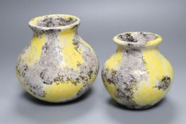 Jerome Massier, Vallauris, a mottled yellow and grey ground pottery vase, signed to base and a