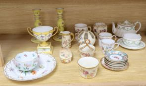 A collection of Worcester, Meissen, Dresden and other ceramics