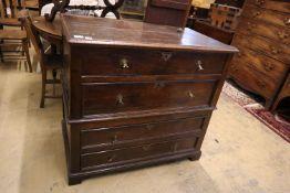 A 17th century oak four drawer chest, width 100cm, depth 58cm, height 92cm