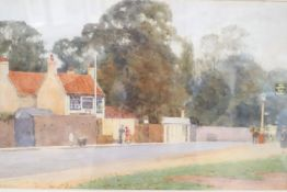 Gerald Wakeman (Irish), watercolour, Hampstead Village, signed, 30 x 49cm