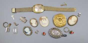 Assorted jewellery including a Victorian silver locket, three cameo shells etc and a gold plated