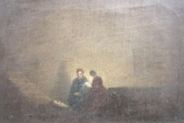 After Rembrandt, oil on canvas, Candlelit figures, 9 x 14cm