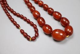 A single strand graduated oval simulated amber bead necklace, 80cm, gross 70 grams.