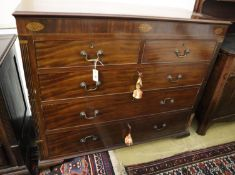A George IV inlaid mahogany Scottish chest of drawers, width 130cm, depth 55cm, height 108cm