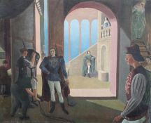 James Cleaver (1911-2003)oil on canvasShakespearian actors preparing to go on televised