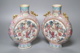 A pair of 19th century Chinese moon flasks, Guangxu mark to base, height 23cm