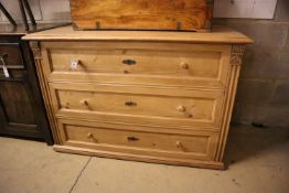 A 19th century East European pine chest of drawers, width 128cm, depth 65cm, height 88cm