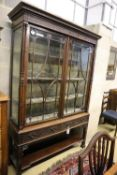 A Chippendale Revival mahogany display cabinet, width 126cm, depth 36cm, height 195cm