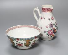 An 18th century Chinese export ceramic jug, lacking cover, together with a famille rose bowl,