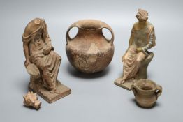 An ancient pottery two handled jar, a.f., two late 19th century terracotta models of classical