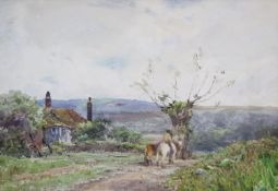 Claude Hayes (1852-1922), watercolour, Horse rider passing a cottage, signed, 24 x 34cm
