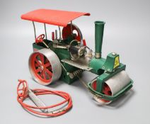 A Wilesco live steam model of a steam roller, Mamod 1978, overall length 32cm
