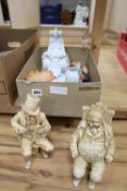 A white porcelain corbel, a pair of ivory-effect porcelain figures and five other items