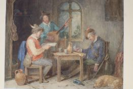 Attributed to John Massey Wright, watercolour, 17th century Tavern interior, 21.5 x 27cm, unframed