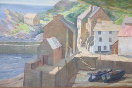 Robt. Johnson, oil, Cornish harbour