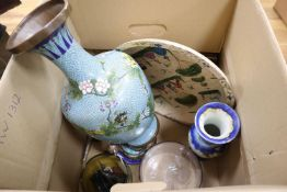 Miscellaneous English glass and ceramics, a Japanese cloisonne vase, books, pictures and silver