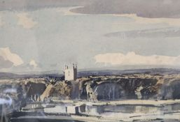 § Rowland Hilder (1905-1993), watercolour, 'Valley Church', signed, 25 x 35cmCONDITION: