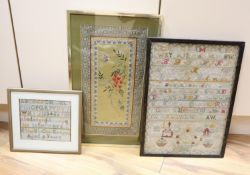 Two Victorian alphabet samplers, larger dated 1887, 44 x 32cm and a Chinese coloured silk depiction