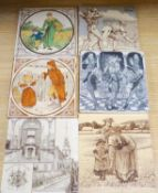 A group of six Victorian printed pictorial ceramics tiles, 15cm sq., ex Peter Creffield Collection