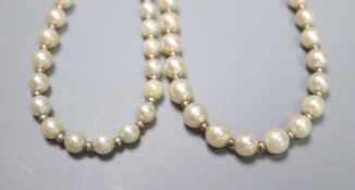 Two similar French silver strand cultured pearl necklaces with diamond set white metal( French