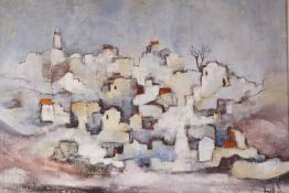 Asher Amid, oil on canvas, Israeli village, signed and dated '78, 49 x 69cm