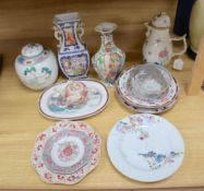 A group of mixed 18th and 19th century Chinese famille rose ceramics, some damage throughout