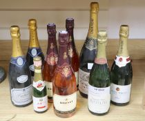 A Magnum of Descombes NV champagne and eight other champagnes /sparkling wines
