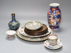 A 19th century Chinese cloisonne enamel vase, an 18th century Imari tea bowl and other Asian