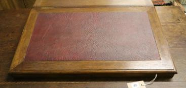 A late Victorian oak and mahogany writing slope, width 70cm, depth 54cm