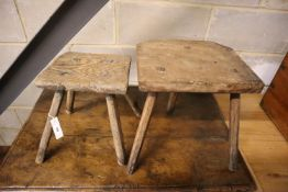 Two oak and elm primitive stools, larger 39cm high
