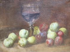 Continental School c.1900, oil on canvas, Still life of a glass of wine, greengages and plums, 24