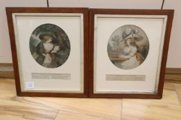 J. R. Smith after George Morland, a pair of late 18th century coloured mezzotints of ladies, ""