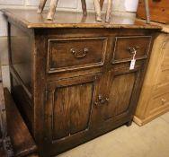 A mid 18th century oak side cabinet, width 96cm, depth 63cm, height 89cm