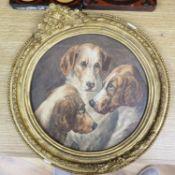 English School, watercolour, Study of three hounds, tondo, 23cm