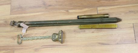A WWII New Zealand tripod stand, Military issue, a telescope and a brass claw and ball door stop and