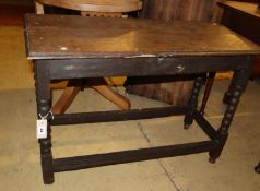 An 18th century and later bobbin leg side table, width 94cm, depth 39cm, height 64cm