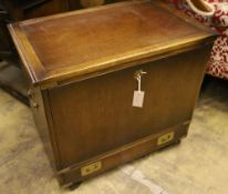 A military style mahogany and brass bound filing or record cabinet, width 69cm depth 43cm height