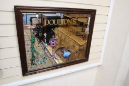 A reproduction Doulton Burslem advertising mirror, width 82cm, height 65cm