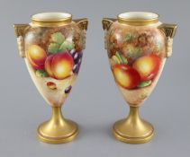 A pair of Royal Worcester fruit painted oviform vases, post-war, painted by J. Cook & P. Lynes, with