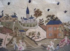 An early 19th century English petit point panel, with father, children and dog in a garden, houses