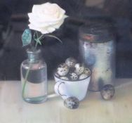 § Andrew Hemingway (1955-)pastel on paperStill life with birds eggs and a rosesigned and dated 19978