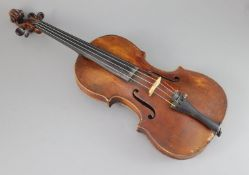 An 18th/19th century violin, labelled 'Thomas Balestrieri Cremonensis Fecit Mantua Anno 1761',