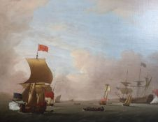 Peter Monamy (1681-1749)oil on canvasMen-o'-war and other vessels in an estuary with salutes being