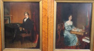 John Partridge (1790-1872)pair of oils on panelFull length portraits of a husband and wife, each