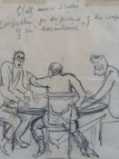 Sir Alfred Munnings (1878-1959)4 pencil sketchesThree men around a table, inscribed 'Still more