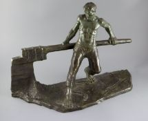 Victor Demanet (1895-1964). A bronze figure of a barge man operating a lock gate, with blued green